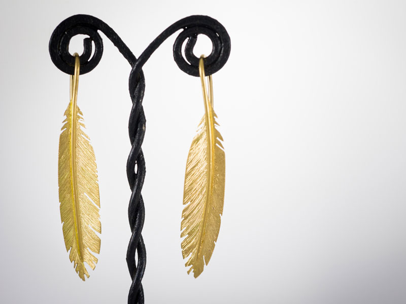 18ct yellow gold feather earrings