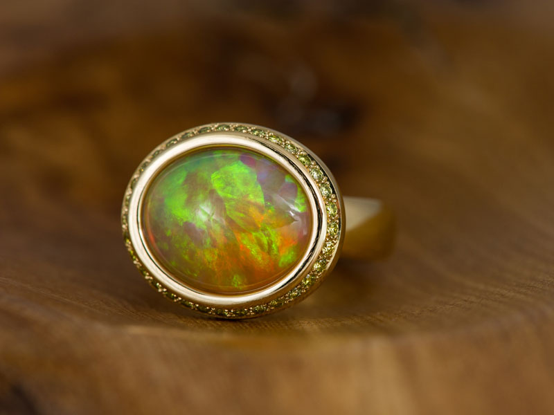Ethiopian opal, yellow diamonds, 18ct yellow gold